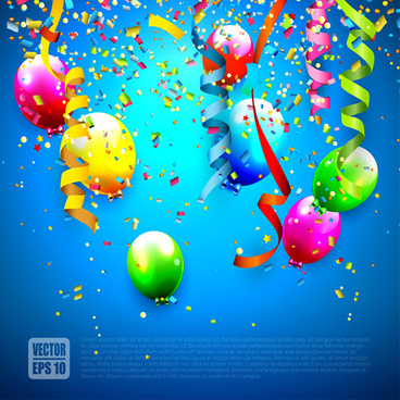 confetti and colorful balloons birthday background vector