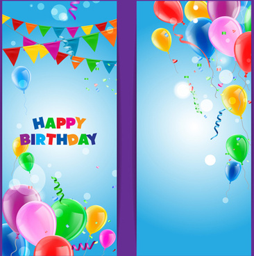 confetti with colored balloons birthday banner vector