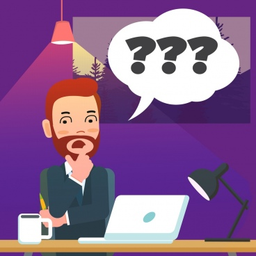 confusion background man question mark icons colored cartoon