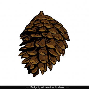 conifer pine cone icon classical handdrawn sketch