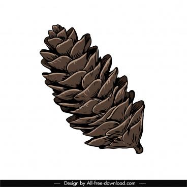conifer pine cone icon handdrawn sketch colored retro