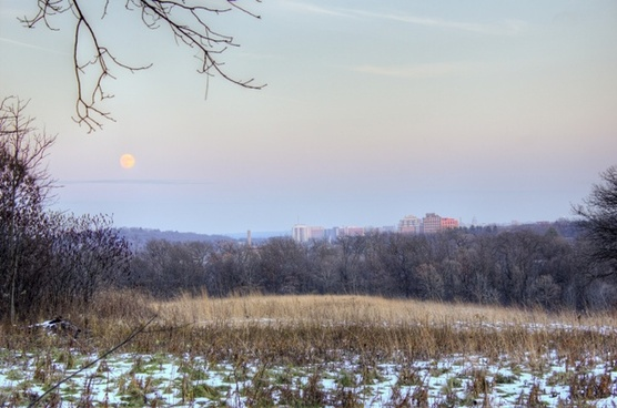 conservatory city and moon in madison wisconsin