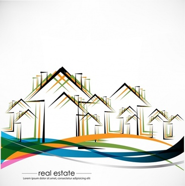 real estate background houses sketch colorful flat design