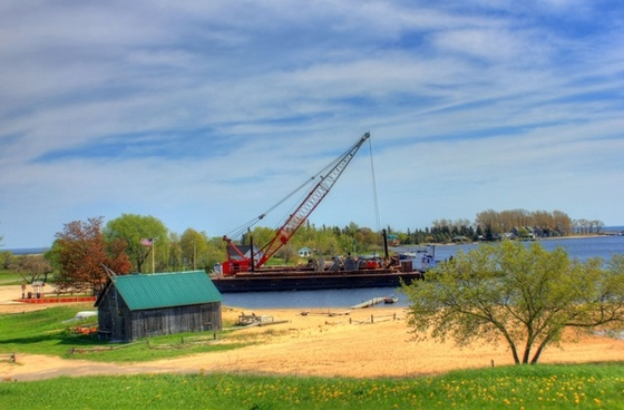 construction boat on lake superior in the upper peninsula michigan
