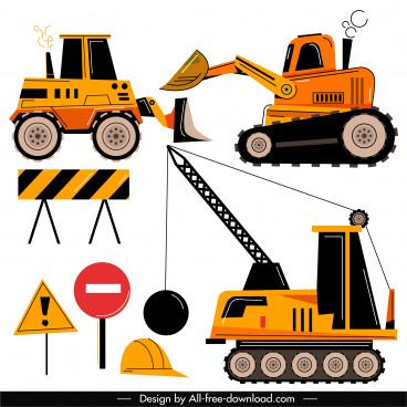 construction design elements machines signboard sketch flat classic