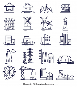 construction icons black white flat symbols sketch