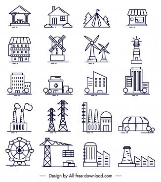 construction icons black white flat symbols sketch