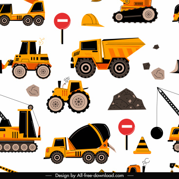 construction industry pattern colored repeating flat symbols decor