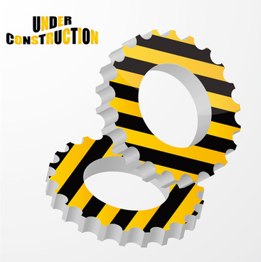 construction sign with gearwheel vector