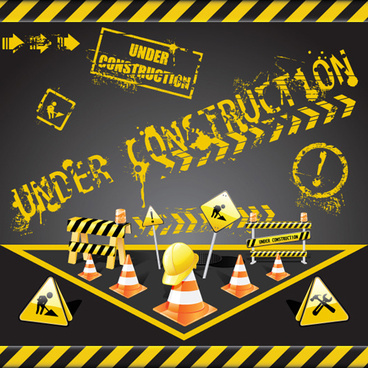 construction signs mix garbage elements vector