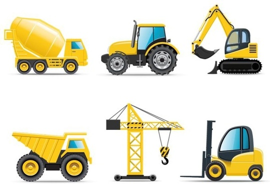 construction vehicles icons yellow equipment objects modern design