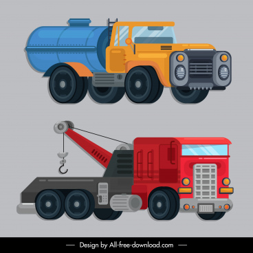 construction vehicles icons tanker mobile crane sketch