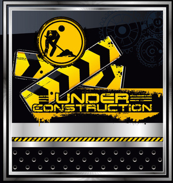construction warning sign vectors background