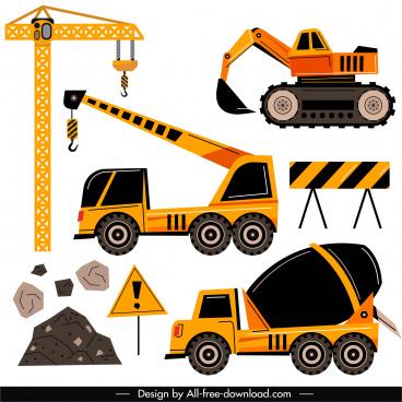 construction work design elements heavy machines sketch