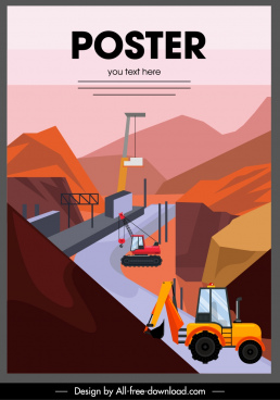 construction work poster site heavy equipment sketch