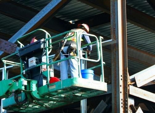 construction worker hard hat tool belt