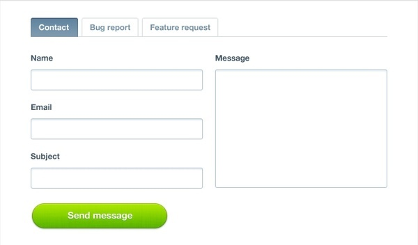 Contact Form with Tabs