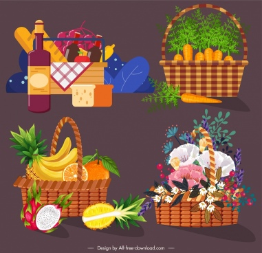 container baskets icons camping fruit vegetables floral sketch
