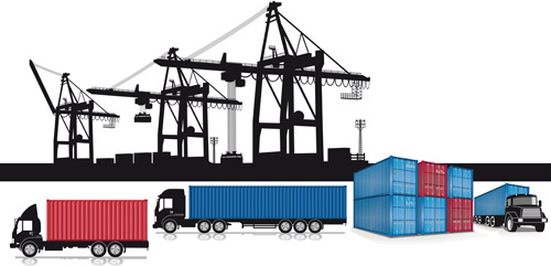 container shipping design vector set