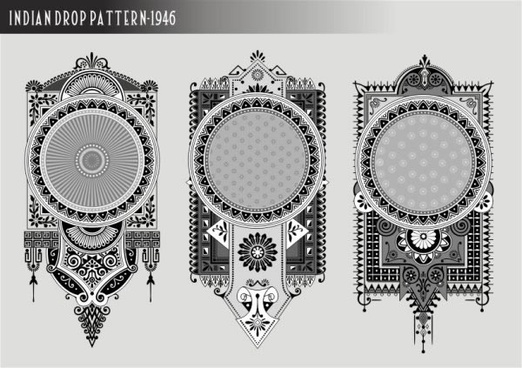 label templates retro ethnic ornament black white design