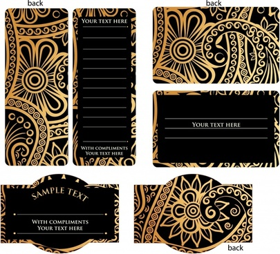 card templates elegant dark tribal decor