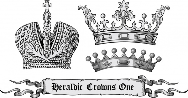 heraldic design elements retro european crown ribbon sketch