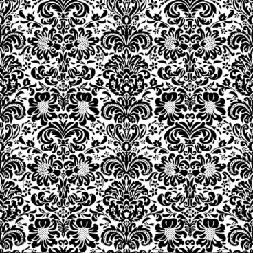 decorative pattern template black white classic floral shapes