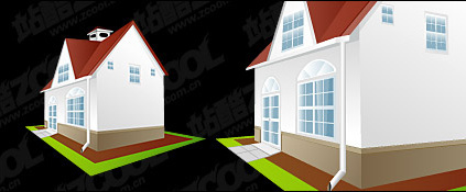 Continental houses vector material
