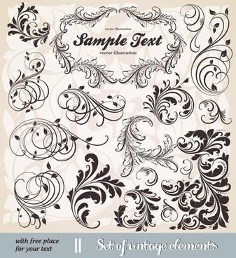 decorative elements templates retro european curved shapes