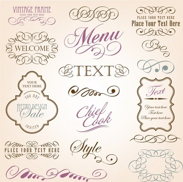decorative elements elegant classic curves calligraphic sketch