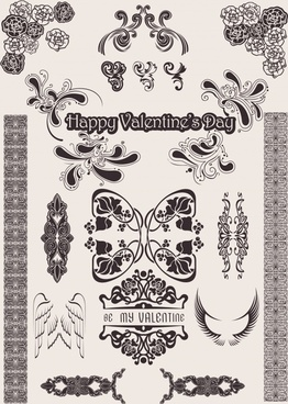 valentine decor elements retro flora wings shapes sketch