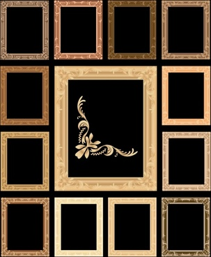 decorative frames templates dark retro design