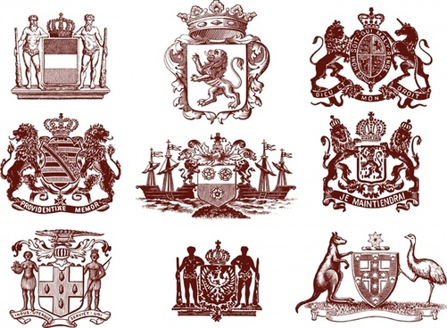 royal heraldic sign templates retro european elements sketch