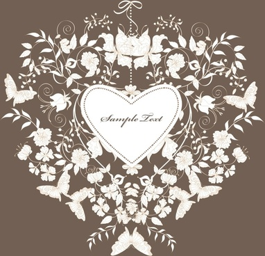 wedding decor template elegant flowers butterflies heart sketch