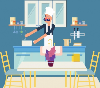 cook work background colored cartoon design