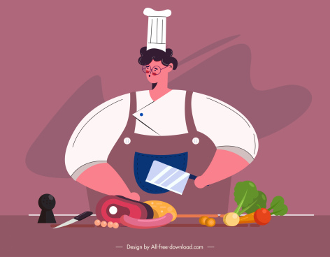 cook work painting colorful classic design