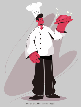 cook work painting man serving food sketch
