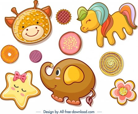 cookies design templates animal flower icons flat decor