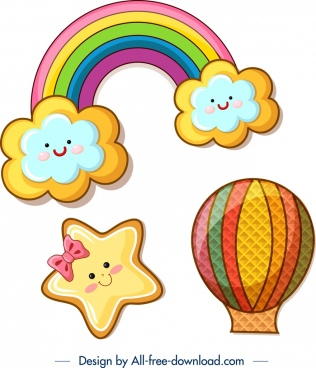 cookies design templates cloud rainbow star balloon icons
