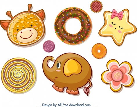 cookies design templates cow elephant star flower icons