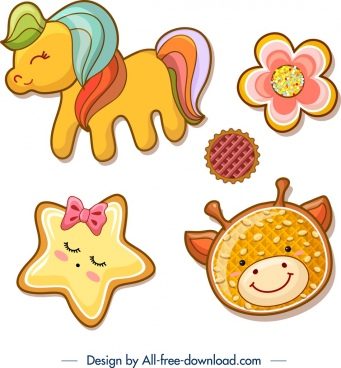 cookies icons colorful cute flat shapes