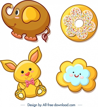 cookies templates elephant bunny cloud icons decor
