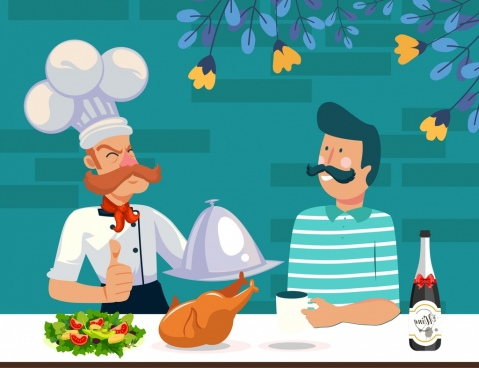 cooking background chef customer food icons cartoon characters