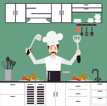 cooking background cook icon cartoon decoration