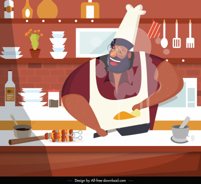 cooking background cook kitchen sketch cartoon character design