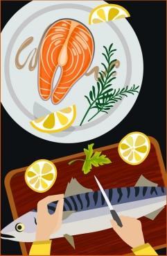 cooking background fish cuisine icons multicolored design