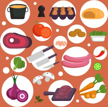 cooking background food utensils icons circles isolation