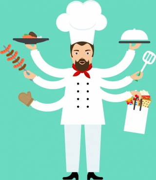 cooking background male cook serving with multi hands