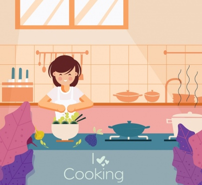 cooking banner housewife kitchenware icons cartoon design