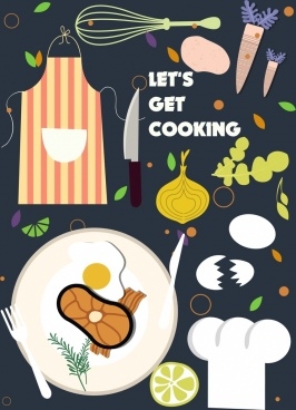 cooking banner ingredients utensils icons flat design